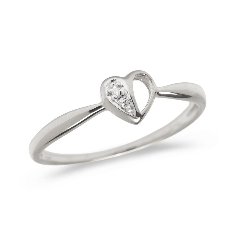 Color Merchants 14K White Gold Diamond Heart Ring
