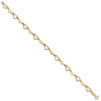 14k Polished Diamond-cut Open & Stamp Heart Bracelet