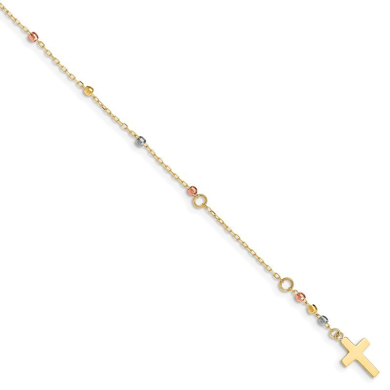 Quality Gold 14K Tri Colored Gold Diamond Cut Beaded Cross W/1 IN Ext Bracelet