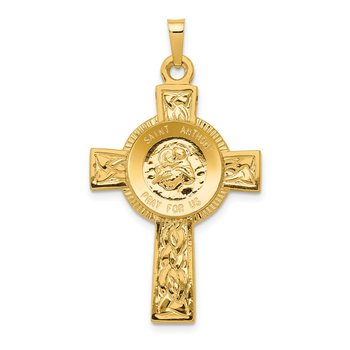 14k Cross w/St Anthony Medal Pendant
