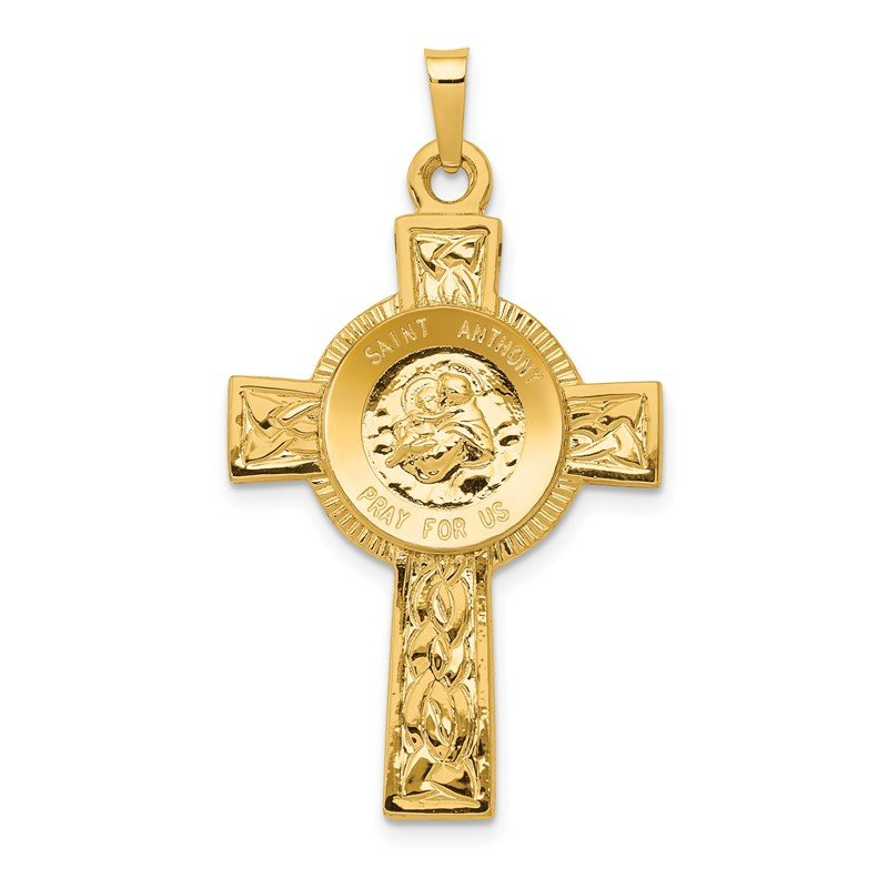Quality Gold 14k Cross w/St Anthony Medal Pendant