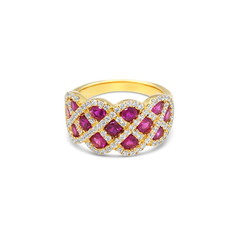 Fana You And Me Ruby and Diamond Interweaving Ring