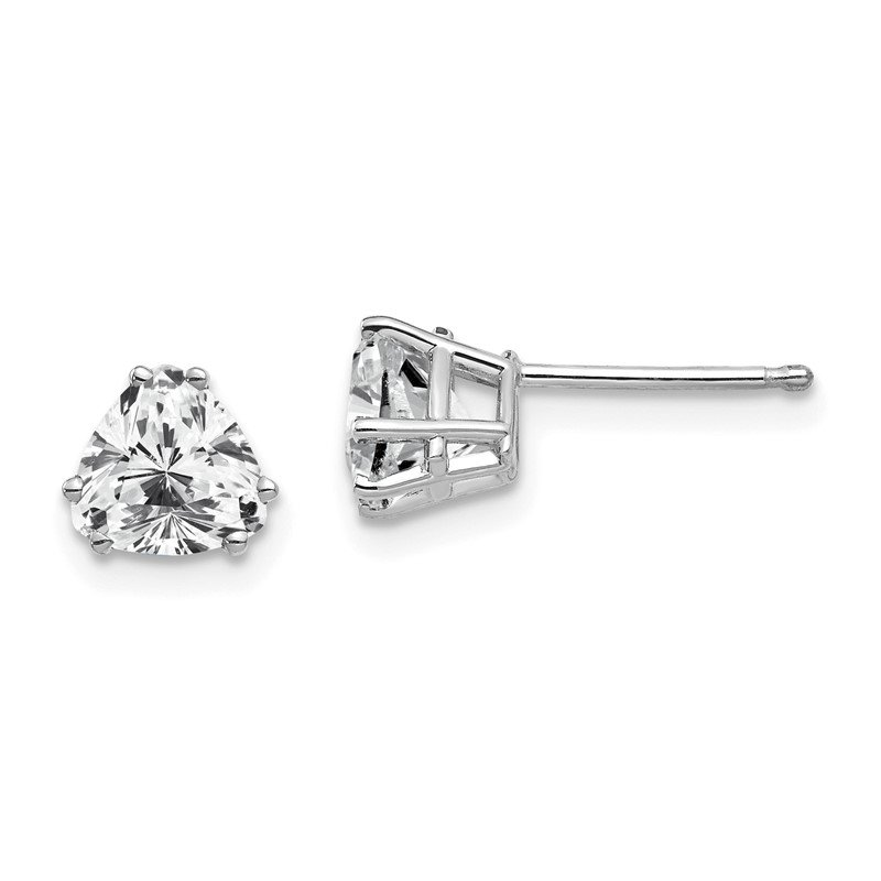 Quality Gold 14k White Gold 6mm Trillion Cubic Zirconia Earrings