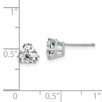 14k White Gold 6mm Trillion Cubic Zirconia Earrings