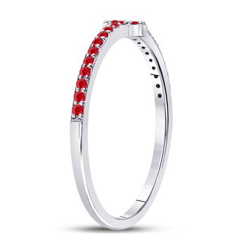 10kt White Gold Womens Round Ruby Cross Stackable Band Ring 1/6 Cttw