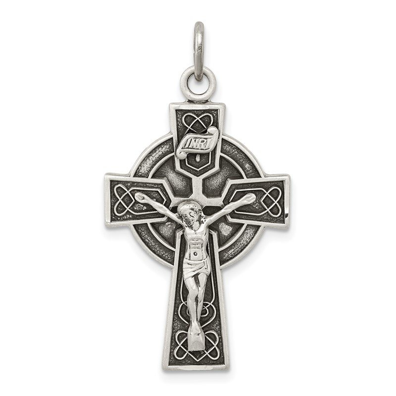 Quality Gold Sterling Silver Antiqued Satin Irish Crucifix Cross Pendant