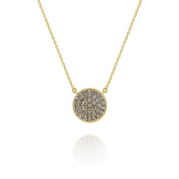 Champagne Diamond Pavé Disc Pendant Set in 14 Kt. Gold