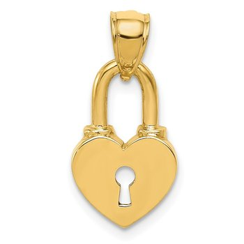 14K Polished Heart Lock Charm