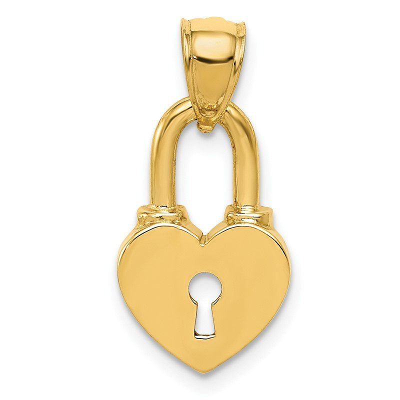 Quality Gold 14K Polished Heart Lock Charm