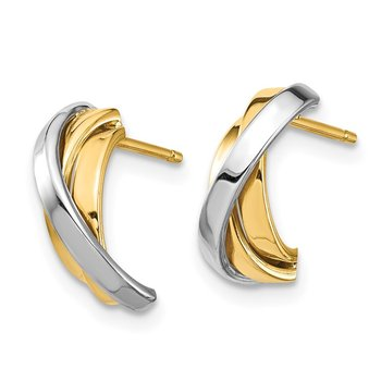 14k & White Rhodium Triple C-Hoop Post Earrings