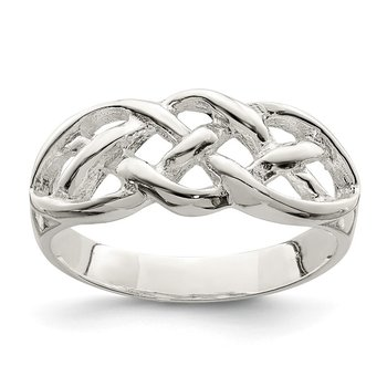 Sterling Silver Polished Woven Celtic Pattern Top Ring