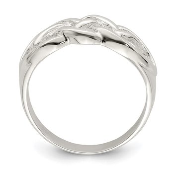 Sterling Silver Polished Woven Top Ring