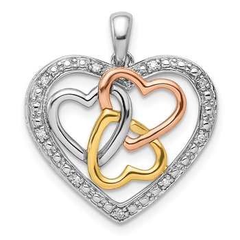 Sterling Silver Rhodium w/White, Yellow, & Rose Gold Plating Dia Pendant