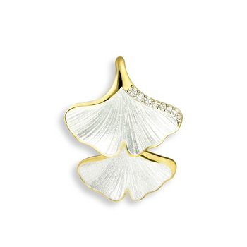 White Ginkgo 2-Leaf Pendant.18K -Diamond