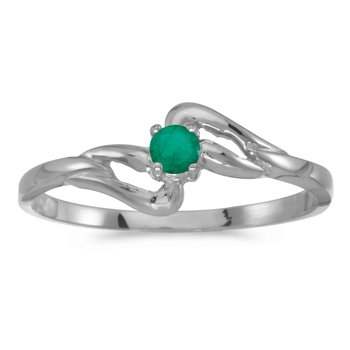 14k White Gold Round Emerald Ring