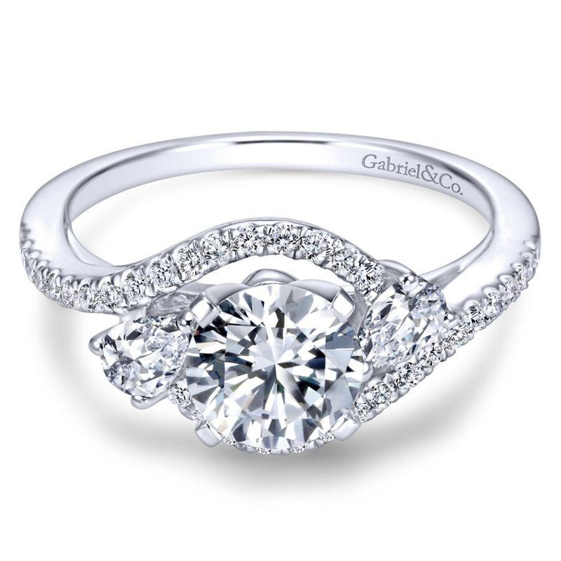 Gabriel Bridal Bestsellers 14K White Gold Round Three Stone Diamond Engagement Ring