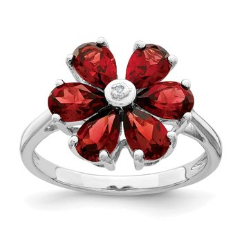 Sterling Silver Rhodium Garnet & Diamond Flower Ring