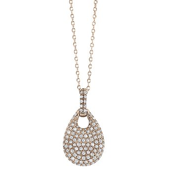 Diamond Teardrop Necklace in 14k Rose Gold with 110 Diamonds weighing .45ct tw