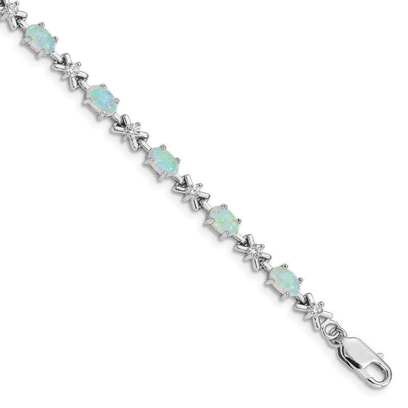 JC Sipe Essentials Sterling Silver Rhodium Plated 7inch CZ/Created Opal XO Bracelet