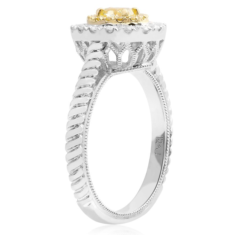 Roman & Jules Oval Yellow Diamond Braided Ring