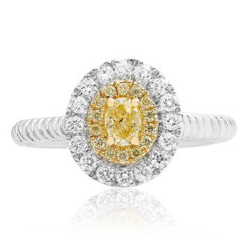 Oval Yellow Diamond Braided Ring