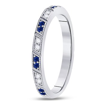 10kt White Gold Womens Round Blue Sapphire Diamond Milgrain Stackable Band Ring 1/4 Cttw