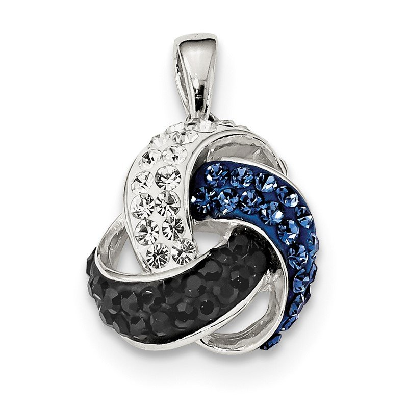 Quality Gold Sterling Silver White/Blue/Black Crystal & Resin Love Knot Pendant
