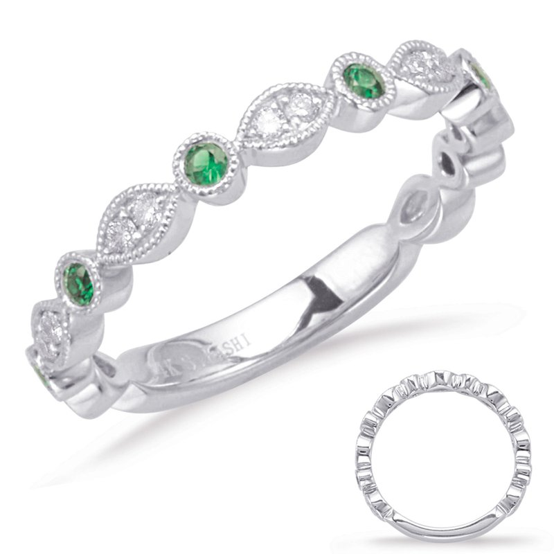 S. Kashi  & Sons White Gold Emerald & Diamond Ring