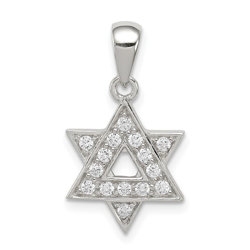 Quality Gold Sterling Silver CZ Star of David Pendant