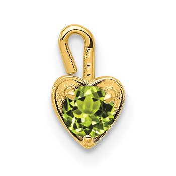 14ky August Synthetic Birthstone Heart Charm
