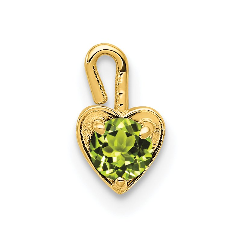 Quality Gold 14ky August Synthetic Birthstone Heart Charm