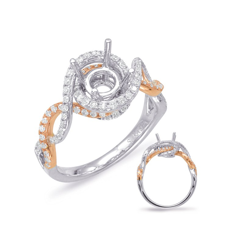 MAZZARESE Bridal Rose & White Gold Halo Engagement Ring