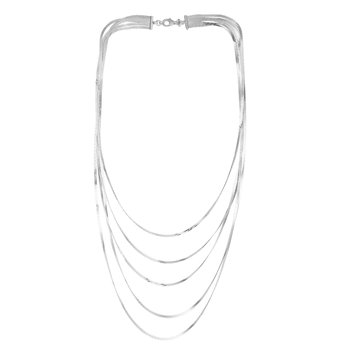 Silver Flat Chain Multistrand Necklace
