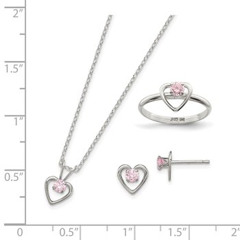 Sterling Silver Childs 15 Necklace, Earrings & Size 3 Ring Set