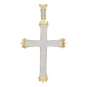 10kt Yellow Gold Mens Round Diamond Roman Cross Charm Pendant 1-3/4 Cttw