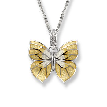 Yellow Butterfly Necklace.Sterling Silver-White Sapphire