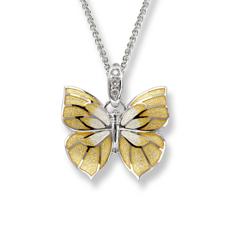 Nicole Barr Designs Yellow Butterfly Necklace.Sterling Silver-White Sapphire