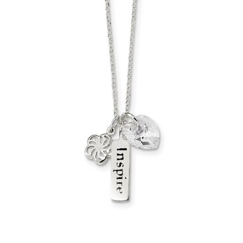 Sterling Silver Enameled INSPIRE Swarovski Crystal Heart Necklace