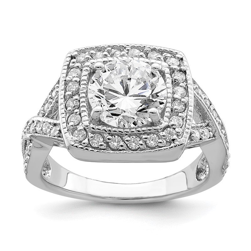 Lester Martin Online Collection Sterling Silver Rhodium-plated Round 8.10mm CZ Ring