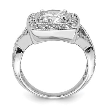 Sterling Silver Rhodium-plated Round 8.10mm CZ Ring