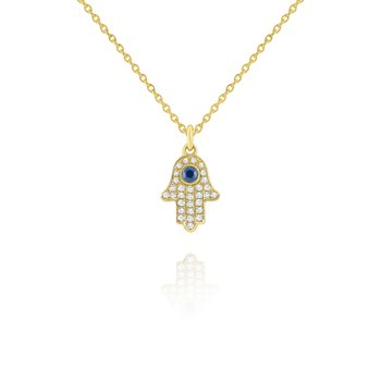 14k Diamond and Blue Sapphire Hamsa Necklace