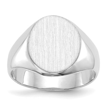 14k White Gold 11.0x13.0mm Closed Back Signet Ring