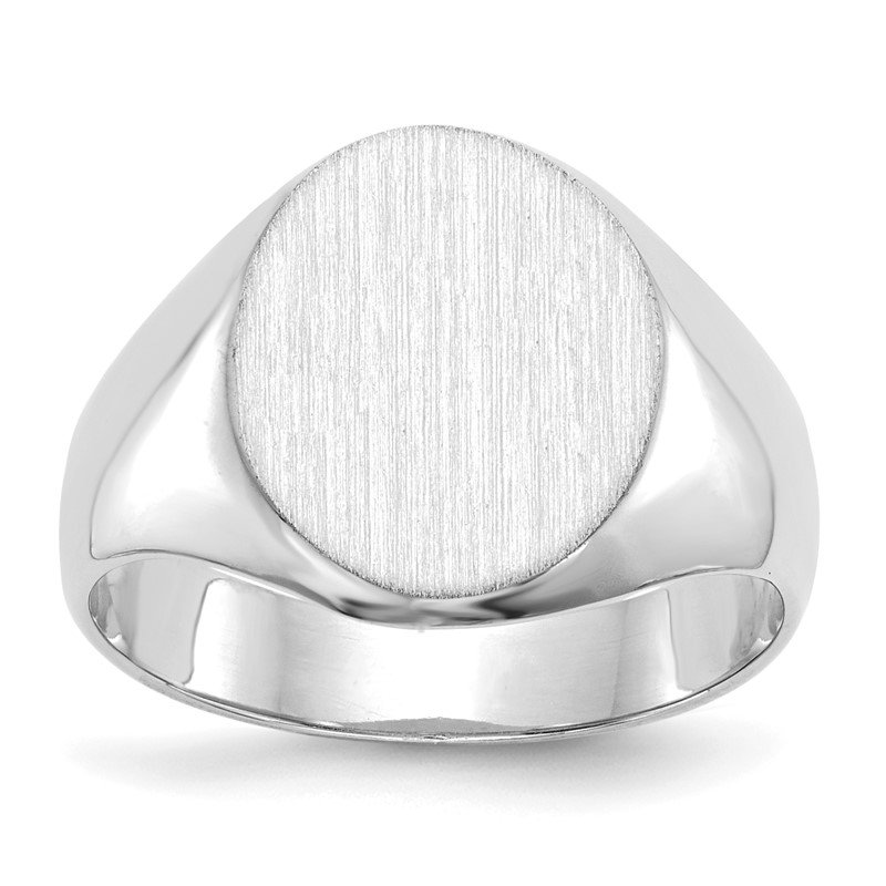 Quality Gold 14k White Gold 11.0x13.0mm Closed Back Signet Ring
