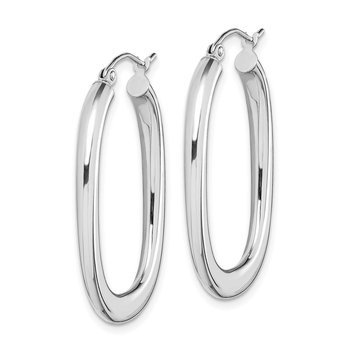 14k White Gold 3.2mm Tappered Hoop Earrings