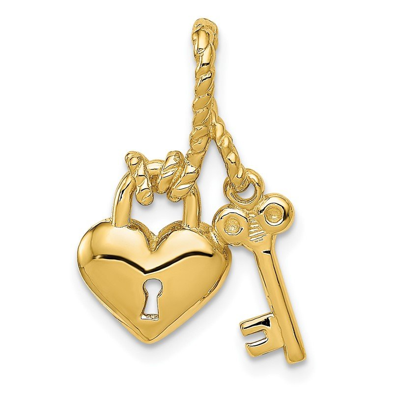 Quality Gold 14K Polished Key Tied to Heart Lock Charm