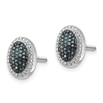 Sterling Silver Rhod Plated Blue Diamond Oval Screwback Earrings