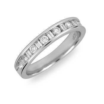 14K WG Diamond Wedding Band Rd and Bags 1/2 Ct.