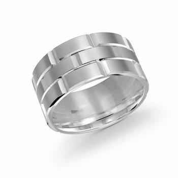 Trendy 11mm all white  gold brick motif satin finish band with high polished grooved accents