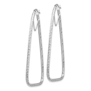 14k White Gold Polished & Diamond-cut Double Triangle Hoop Earrings