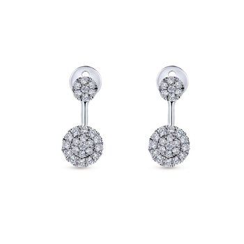 14k White Gold Diamond Round Peek A Boo Earrings